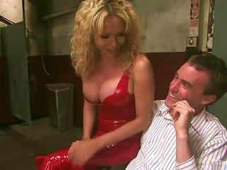 AnyPorn Video - Blonde Tranny Gia Darling Tortures A Man And Makes Him Suck Her Dick
