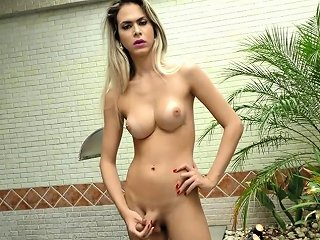 NuVid Video - Tranny Shows Off Her Body And Stokes Her Cock Nuvid