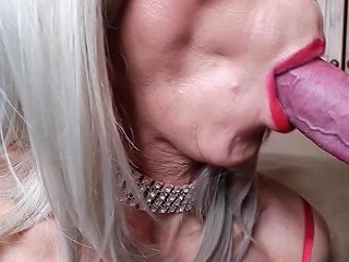 aShemaleTube Video - Rachelsexymaid 46 Blonde Shemale Blowjob With Cum Swallow